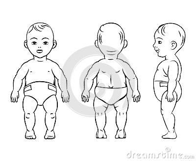 Baby Figure. Front, Side And Back View Stock Vector