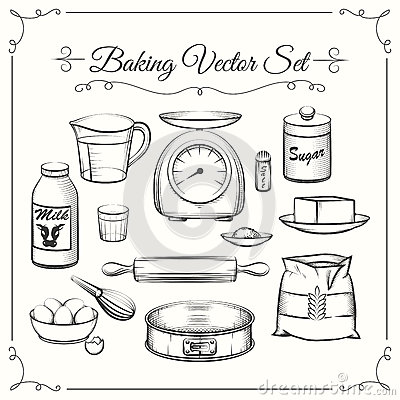 Baking Food Ingredients And Kitchen Tools In Hand Stock