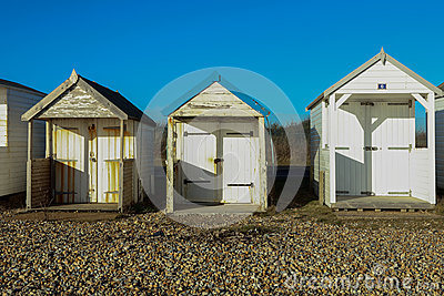 Beach Huts on a sunny day in Sussex