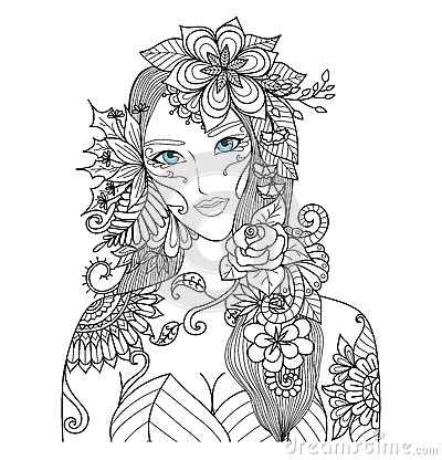 Beautiful Forest Fairy For Coloring Book For Adult Stock
