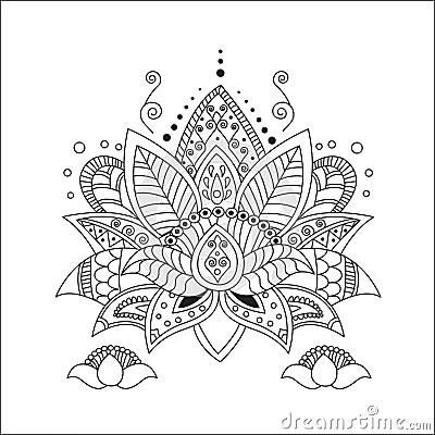 Beautiful Lotus Ornament Vector Yoga Stock Vector