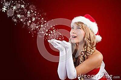 Beautiful Mrs Santa Claus Wishing Merry Christmas Stock