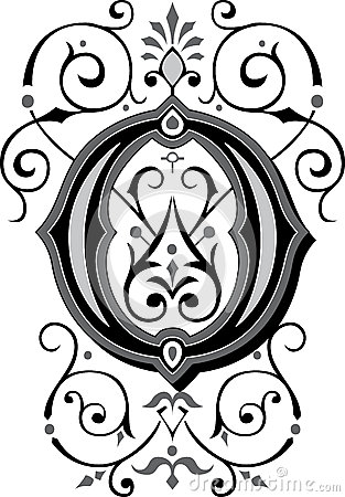 Beautiful Ornament, Letter O Royalty Free Stock Photos