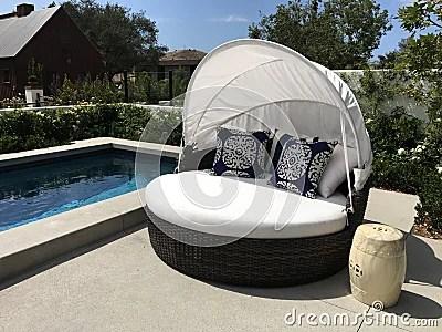 Beautiful Outdoor Patio Pool And Cabana Stock Photo