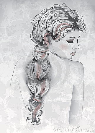 Beautiful Woman In Hand Drawn Style Royalty Free Stock