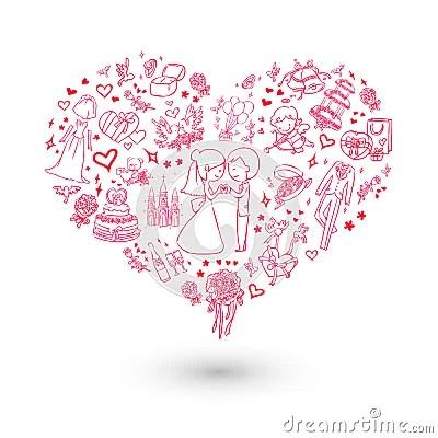 Big Heart Wedding Invitation Royalty Free Stock