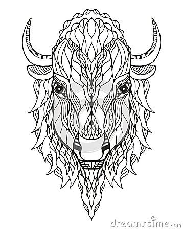 Bison Head Zentangle Stylized, Vector, Illustration