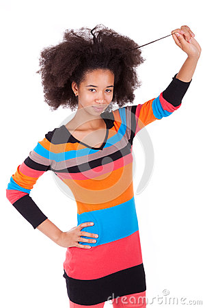black african american teenage girl holding her afro hair stock photography image