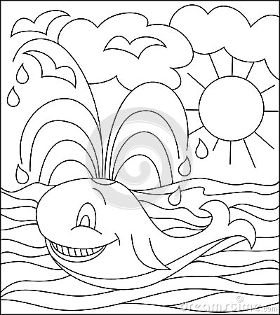 Black And White Illustration Of Whale For Coloring. Stock