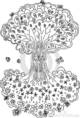 Black And White Tree Of Life Vector Stock Photography