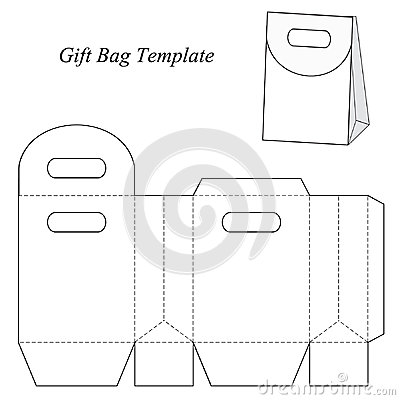 Blank Gift Bag Template With Round Lid Stock Vector