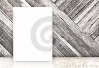 Blank White Poster At Diagonal Wooden Wall And Marble ...