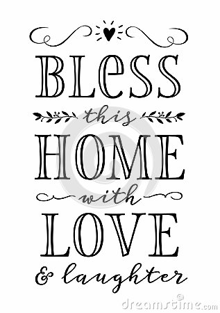 Download Bless This Home With Love And Laughter Vector Illustration ...