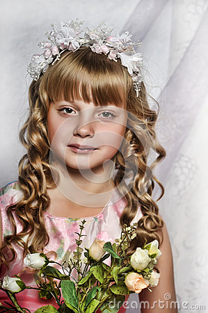 blond girl with white flowers in her hair royalty free stock images image