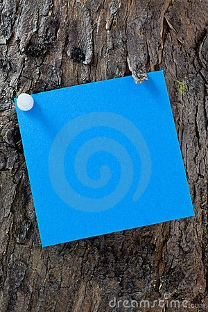 Blue Post-It On A Tree Stock Photography - Image: 14518962