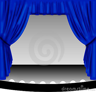 Blue Stage Curtain Royalty Free Stock Images Image 574329