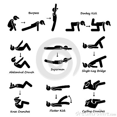 Body Workout Exercise Fitness Training (Set 3) Clipart