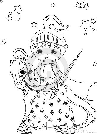 The Brave Knight On The Horse Coloring Page Royalty Free