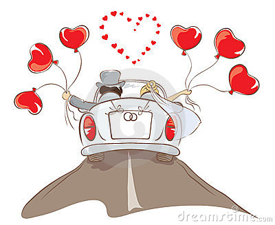 The Bride And Groom Riding In A Car Stock Image Image
