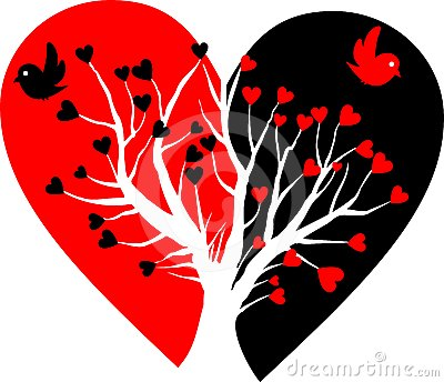 Broken heart with white tree