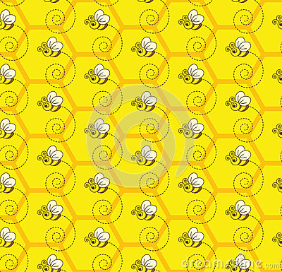 Cute Bees Wallpaper Bumblebee Honey Colony Seamless Pattern Background Stock
