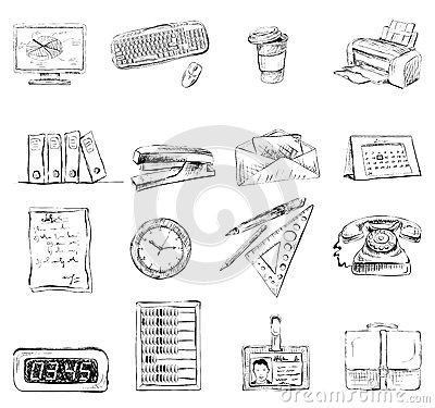 Business Office Stationery Supplies Icons Set Stock Vector
