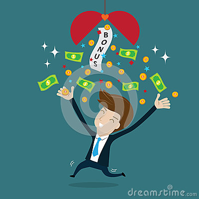 Businessman Happy With Bonus Stock Illustration Image