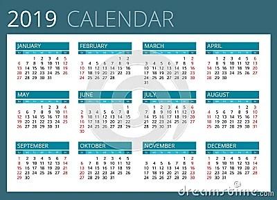 Calendar For 2019 Week Starts Sunday Simple Vector Design Stock Vector Image 71343791