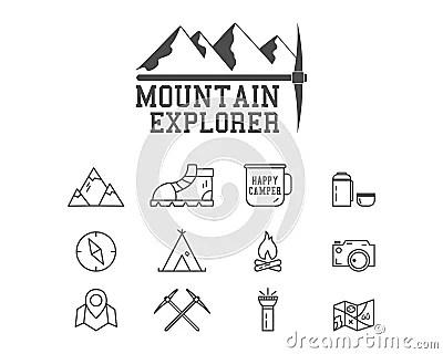 Camping Mountain Explorer Camp Badge, Logo Stock Vector