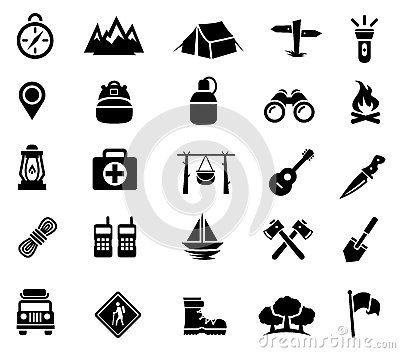 Camping, Outdoor Activity, Recreation, Icons Stock Vector