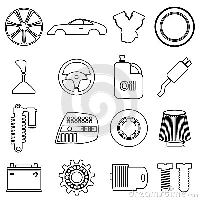 Car Parts Store Simple Black Outline Icons Set Stock