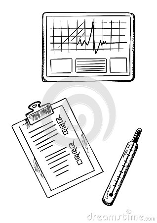 Cardiogram, Medical History, Thermometer Sketches Stock