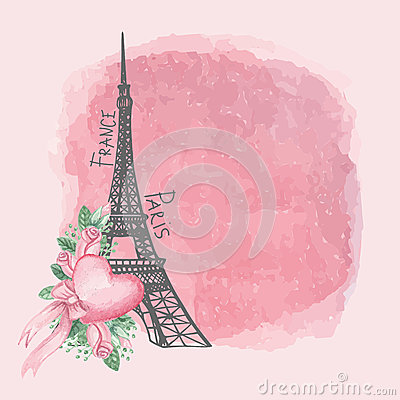 Carte de vintage de Paris Tour Eiffel, rose d aquarelle