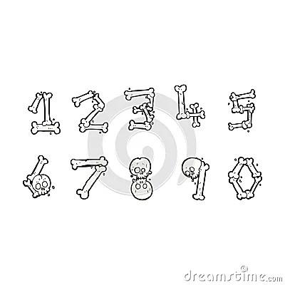 Cartoon bone numbers Stock Photo