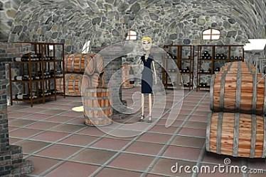 cellar cartoon businesswoman drunk royalty render 3d