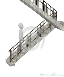 cartoon stairs walks character render 3d