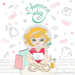 shopping cartoon cute background line clothes rug doodle laptop holding sitting credit card vector illustration