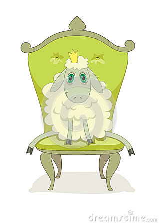 Cartoon Cute Lamb On A Chair Stock Vector Image 47800332