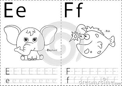 Cartoon Elephant And Fish. Alphabet Tracing Worksheet