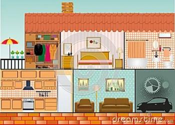 cartoon interior furniture rooms living