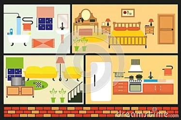 cartoon furniture rooms living interior vector