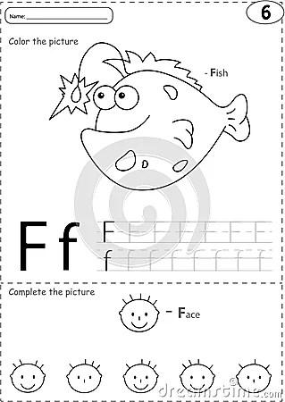 Cartoon Fish And Face. Alphabet Tracing Worksheet: Writing