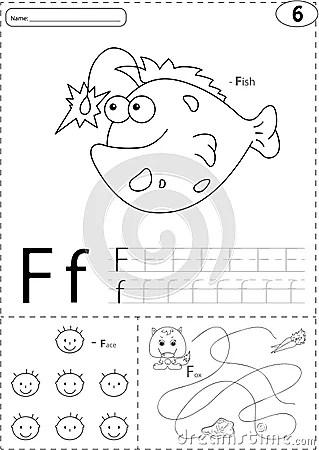 Cartoon Fish, Face And Fox. Alphabet Tracing Worksheet