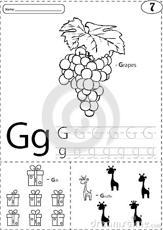 Cartoon Grapes, Gift And Giraffe. Alphabet Tracing
