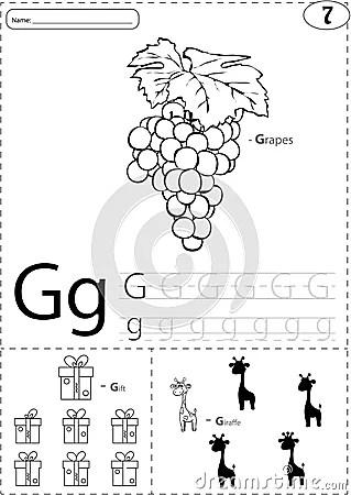Cartoon Grapes, Gift And Giraffe. Alphabet Tracing