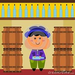 cellar wine cartoon inside illustration