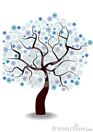 Cartoon Illustration Of Winter Tree Stock Illustration