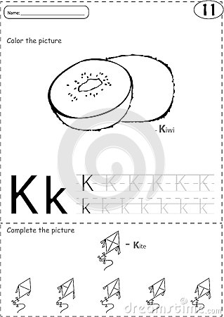 Cartoon Kite And Kiwi. Alphabet Tracing Worksheet: Writing