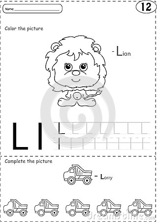 Cartoon Lorry And Lion. Alphabet Tracing Worksheet