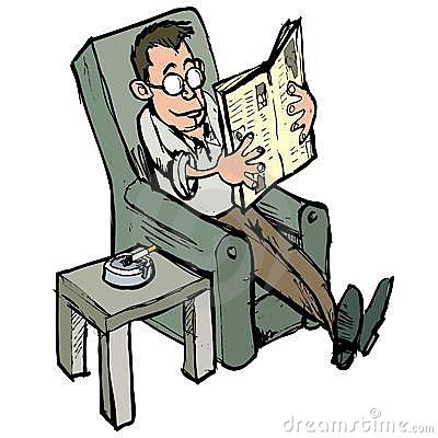Cartoon In A Lounge Chair Reading A Newspaper Stock Photos